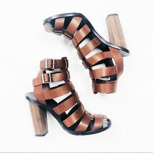 324ae0aea1f VINCE Brown Saddle Nicolette Caged Gladiator Heels